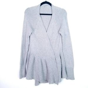 Knitted & Knotted Peplum Open Cardigan gray Sz L